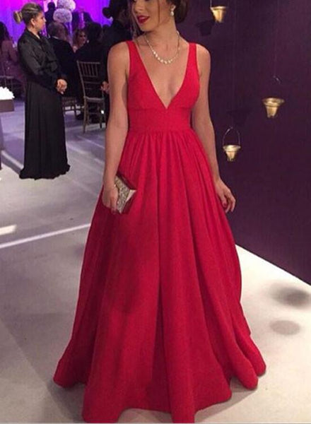 Red V-neckline Pretty A-line Floor Length Formal Gown, Red Evening Party Dress 2019