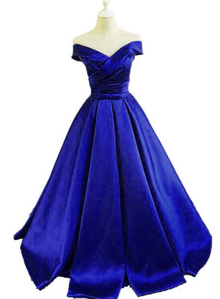 Royal Blue Satin Off Shoulder Long Formal Gown with Belt, Lovely Sweet 16 Gowns