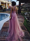 Beautiful Halter Tulle with Lace Applique Prom Gown, Charming Evening Gowns 2019