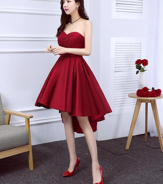 Wine Red Satin Cute High Low Homecoming Dresses, Sweetheart Party Dresses 2019