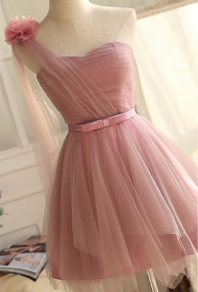 One Shoulder Tulle Dark Pink Short Formal Dress 2019, Cute Pink Party Dress 2019