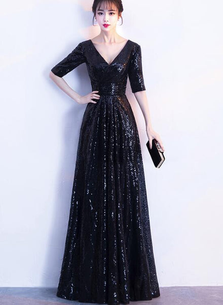 Black Sequins Floor Length 1/2 Sleeves Wedding Party Dress, Sequins Bridesmaid Dress 2019