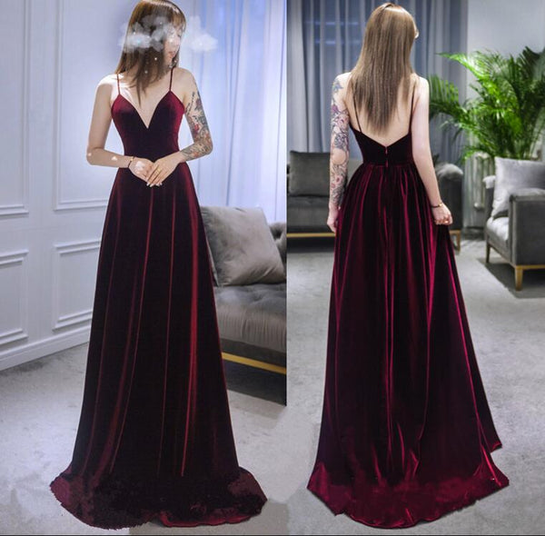Dark Red Straps Velvet Deep V-neckline Party Gown, Beautiful Wedding Party Dress