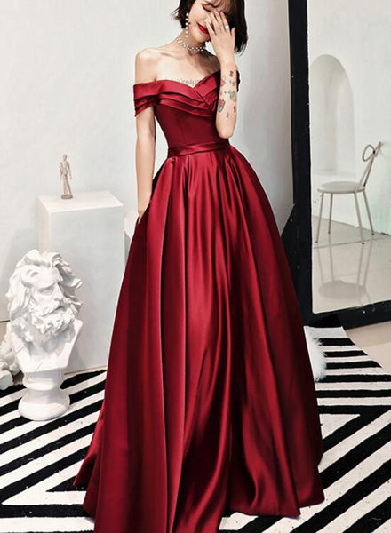 Charming Dark Red Satin Floor Length Off Shoulder Party Gown, Prom Dress 2019