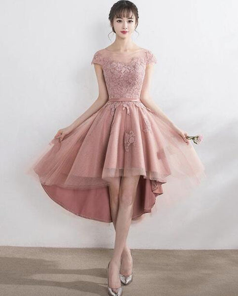 Dark Pink High Low Tulle with Applique, Lovely Party Dress 2019, Formal Gowns 2019