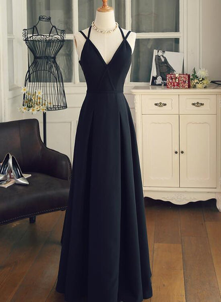 Charming Black Unique Long Straps Chiffon Formal Dress, Lovely Formal Dress 2019