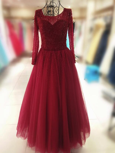 Gorgeous Wine Red Tulle Beaded Long Sleeves Prom Gown, Sweet 16 Dresses