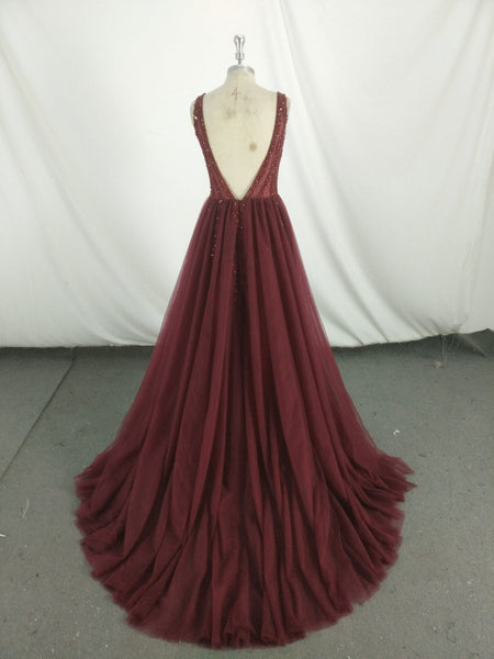 Beautiful Wine Red Tulle Beaded V-neckline Party Dress 2019, Handmade Long Formal Gowns 2019