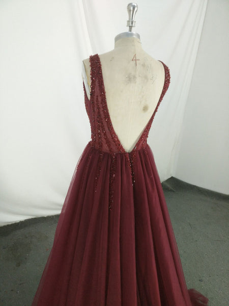 Beautiful Burgundy Tulle Beaded V-neckline Long Formal Dress 2019, Charming Party Gowns 2019