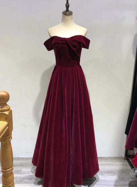 Beautiful Wine Red Velvet Off Shoulder New Style Evening Dress, Pretty Party Dress 2019