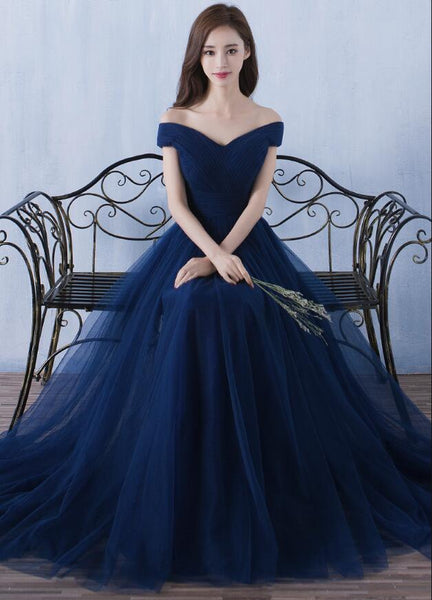 Simple Tulle Navy Blue Prom Dress, Sweetheart Off Shoulder Bridesmaid Dress