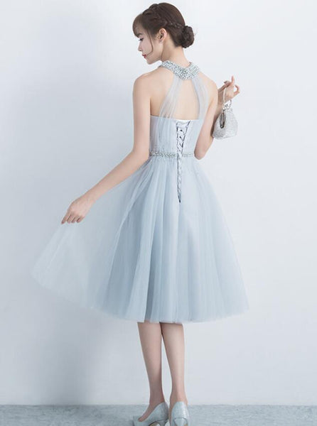Beautiful Light Grey Halter Tulle Knee Length Party Dress 2019, Charming Formal Dress