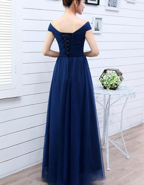 Beautiful Navy Blue Tulle Bridesmaid Dress, Tulle Off Shoulder Party Dress 2019