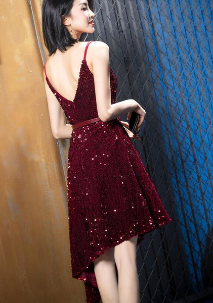 Wine Red Sequins Sexy High Low Party Dress, Sequins Evening Gowns 2019
