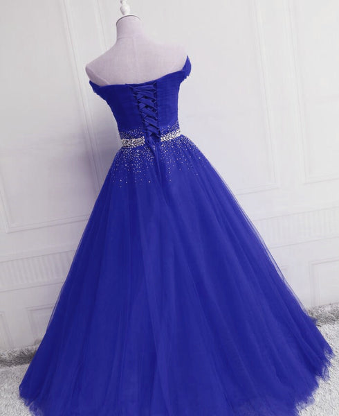 Gorgeous Royal Blue Tulle Off Shoulder Party Gown, Blue Formal Dress 2019