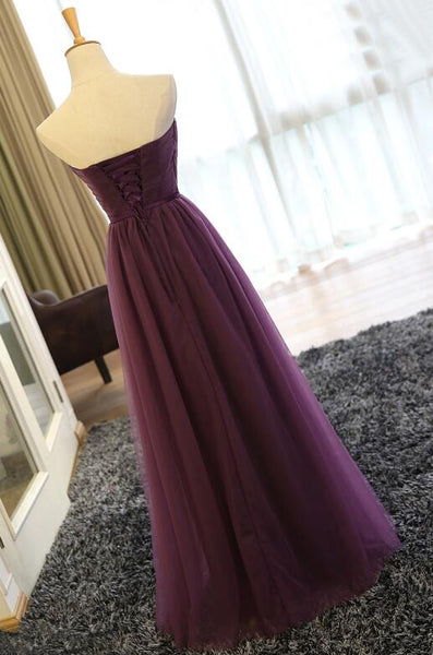 Dark Purple Tulle Long Formal Dress, Grape Party Dress 2019, Party Dress