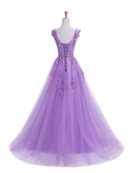 Beautiful Lavender Tulle Long Prom Dress 2019, A-line Party Dress 2019