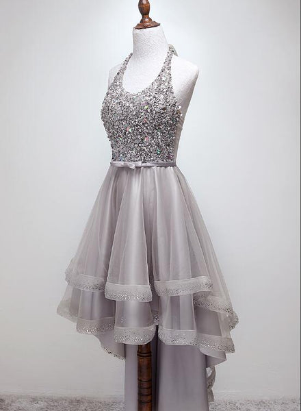 Grey Sequins High Low Formal Dress 2019, Party Gowns 2019, Homecoming Dresses 2019