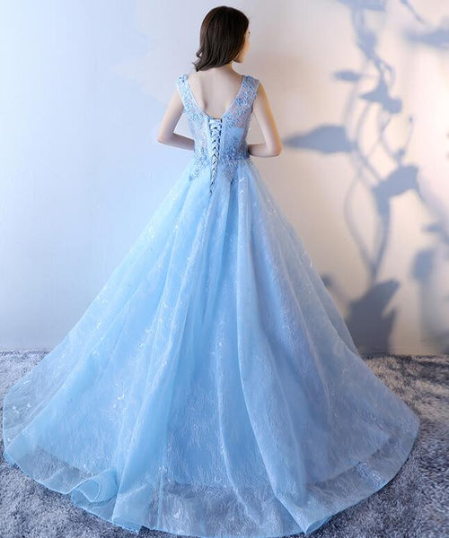 Light Blue Lace Long Gorgeous Party Dress, Blue Formal Dress 2019