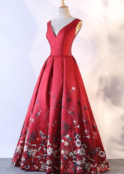 Red Satin Flowers Beautiful V-neckline Party Dress 2019, Charming Formal Gown 2019