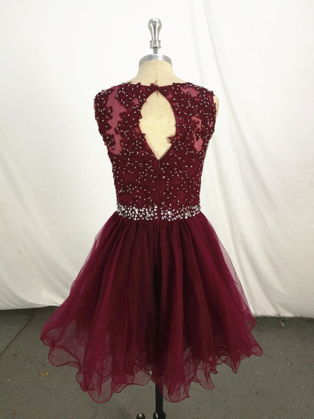 New Handmade Wine Red Knee Length Homecoming Dress, Short Party Dress