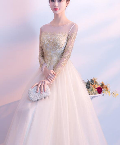 Beautiful Light Champagne Long Sleeves with Gold Applique, Charming Formal Gowns 2019