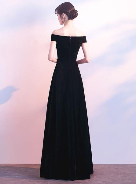Black Velvet Off Shoulder Long Formal Dress 2019, Black Party Dress 2019, Black Bridesmaid Dress