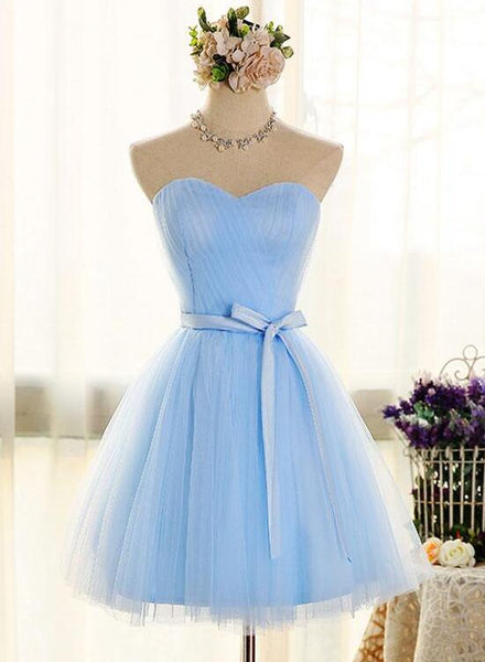 Adorable Light Blue Tulle with Bow Formal Dress, Cute Party Dress 2019, Homecoming Dress
