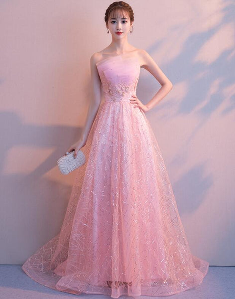 Stylish Pink Tulle Floor Length Party Dress, Lovely Pink Gown 2019