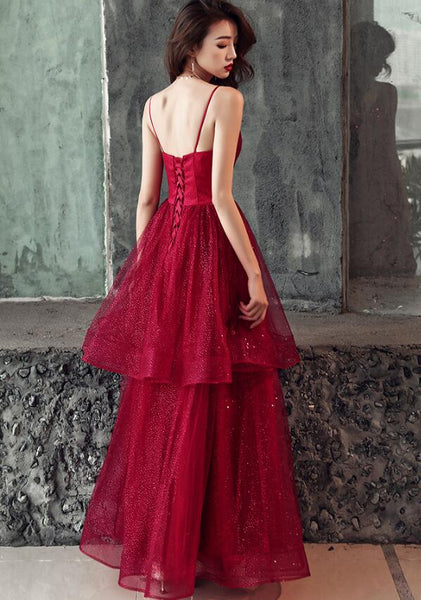 Wine Red Straps V-neckline New Style Formal Dress 2019, Wine Red Prom Dress 2019