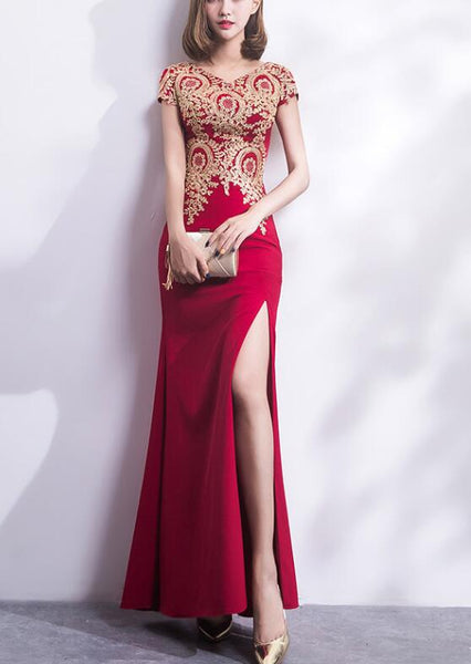 Pretty Cap Sleeves Slit Spandex Floor Length Party Dress, Charming Formal Gown 2019