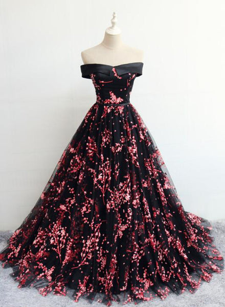 Black Floral Off Shoulder Lace-up Formal Dress , Party Gown Formal Dress