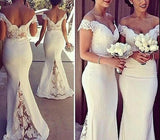 White Simple Sweetheart Mermaid Off Shoulder Bridesmaid Dress, Spandex Formal Gown 2019