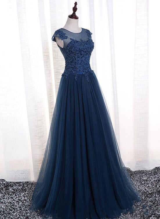 6f1e600456c Charming Navy Blue Tulle Round Neckline Party Dress 2019