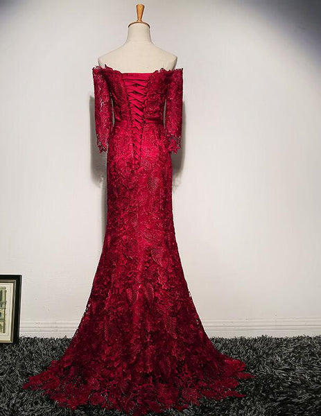 Wine Red Lace Mermaid Off Shoulder Long Evening Gown, Lace Formal Dress