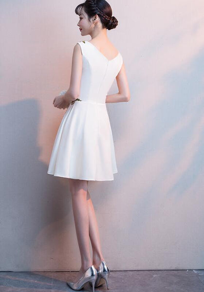 Beautiful White Simple Short Graduation Dress, Lovely Short Party Dress
