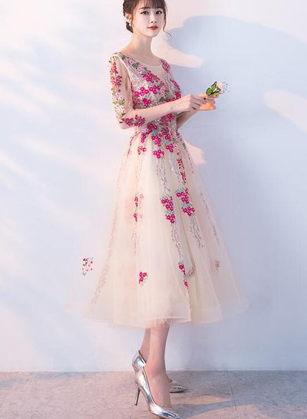 Charming Flowers Lace Champagne Tea Length Party Dress 2019, Wedding Party Dress