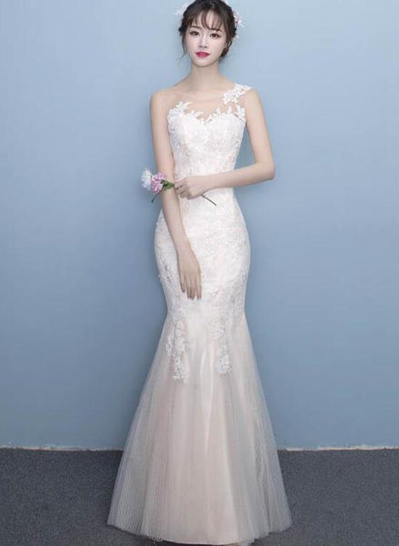 Beautiful Mermaid Tulle with Applique Round Neckline Long Evening Dress, Mermaid Lace Formal Dress