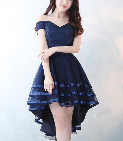 Charming Navy Blue Sweetheart High Low Party Dress, Lace-up Formal Dress 2019