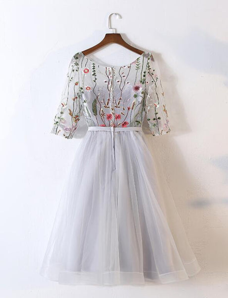 Beautiful Grey Tulle Round Neckline with Flowers Party Dress, Short Prom Dress