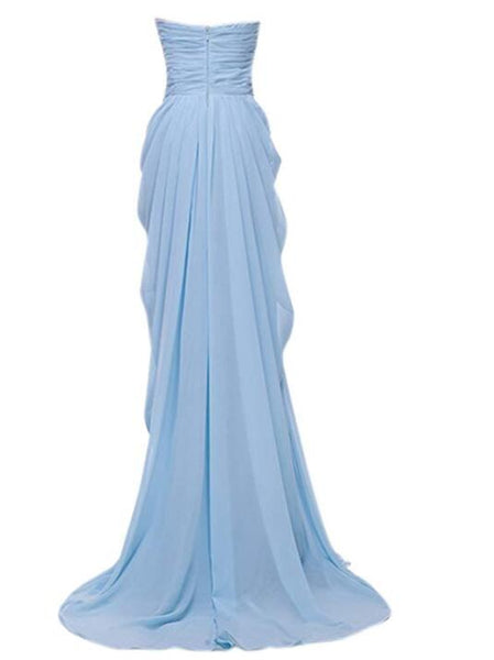 Beautiful Light Blue Chiffon Party Dress, Sweetheart Formal Gown 2019