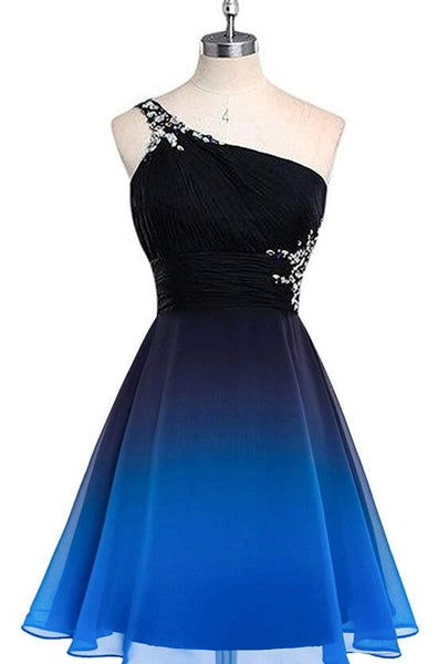 Beautiful One Shoulder Gradient Beaded Short Party Dress, Homecoming Dresses 2019, Formal Dress