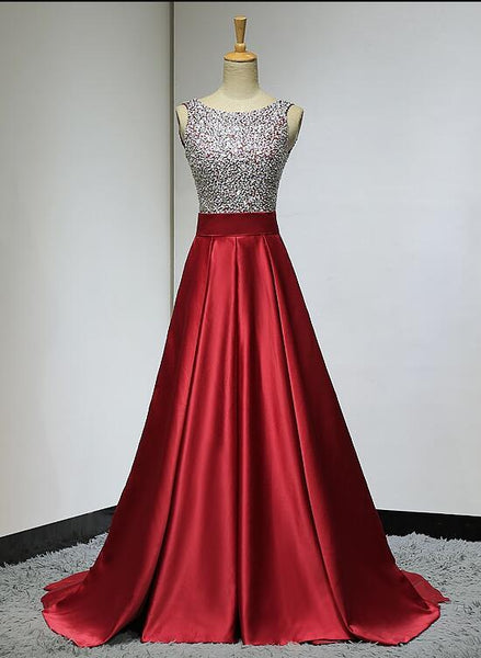 Red Sequins Beaded Backless Long Formal Dress, Red Party Dress 2019