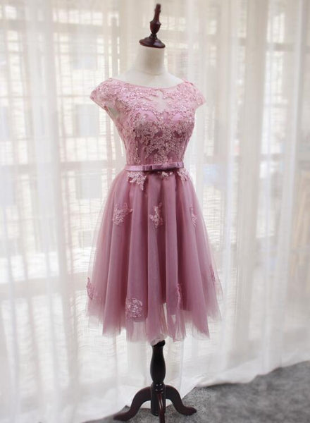 Pink Tulle Round Neckline Short Homecoming Dresses, Pink Party Dress, Bridesmaid Dresses