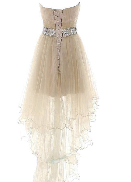 Light Champagne High Low New Party Dress, Homecoming Dresses 2019