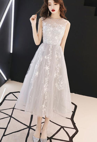 Charming Light Grey Tea Length Tulle Round Neckline Party Dress 2019, Formal Dresses 2019