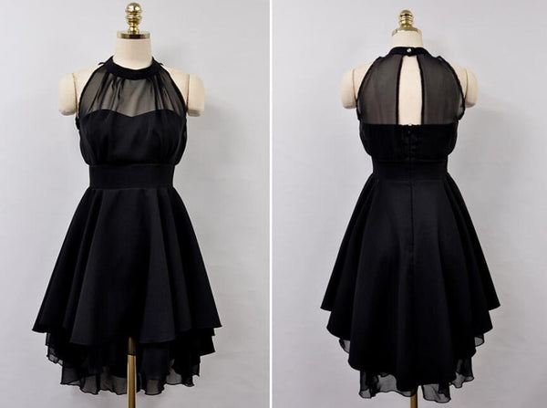 Black High Low Chiffon Party Dress, Cute Simple Formal Dress