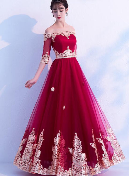 wine red tulle long dress
