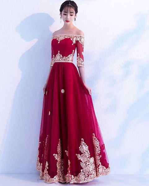 Wine Red Tulle Long Party Dress 2019, Off Shoulder Party Gown 2019