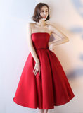 Red Satin Vintage Style Tea Length Evening Gown, Wedding Party Dress 2019